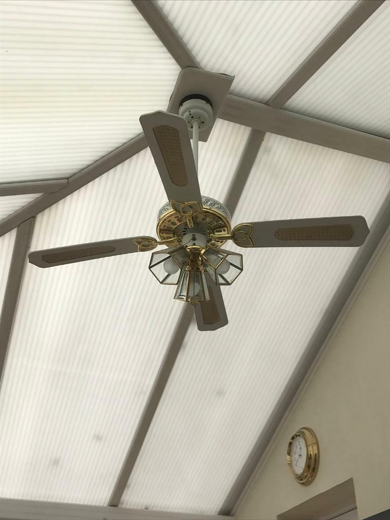 Ultraframe Conservatory Ceiling Fan With Light Remote Control