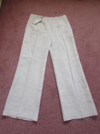 M&S Per Una Roma white wide leg 100% linen trousers Size 12 Short BNWT RRP £35