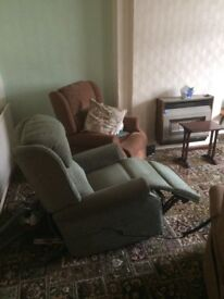 3 reclining HSL chair specialists chairs for sale. 2 brown 1 green Very good condition