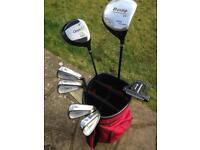 Golf clubs putter and bag.