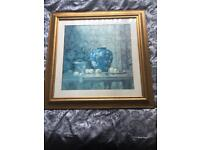 Blue vase picture with gold frame
