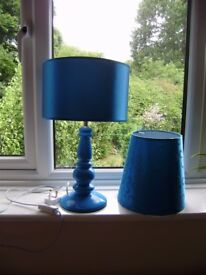 Blue table lamp with two shades, NEW