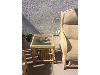 conservatory suite in excellent condition, 2 seater couch, 2 armchairs and 2 glass top side tables