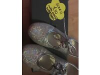 Silver sparkly tap shoes size 11 with free ballet shoes size 12