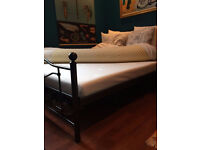 Black Metal Frame Modern Style Double Bed Frame And Mattress Plus Mattress Topper Hardly Used