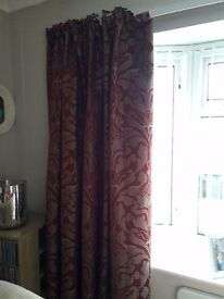 Four pairs lined curtains