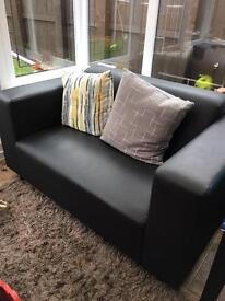 2 Seater Black Sofas x 2