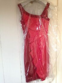 Karen Millen red dress (size 8) with matching shoes (size 37)