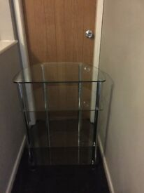4 tier glass stand with chrome legs