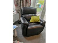 Two seater settee and chair in black leather