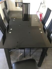 Dining Table with 6 Chairs (Extendable) Black