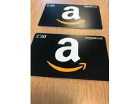 2 £30 Amazon vouchers