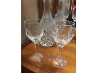 Two Royal Doulton Crystal Sherry Glasses