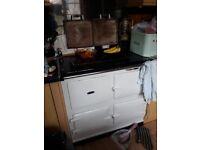 Old Vintage Aga Range Cooker in white.