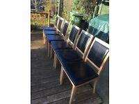 6 dining leather chairs in good condition.