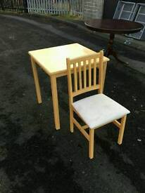 Solid beech wood table + 1 chair £35