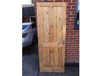 Internal pine door with handles and hinges
