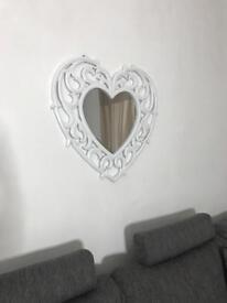 White heart mirror