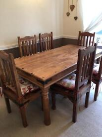 Indian dining table and 6 chairs
