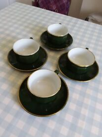 4 Apilco vintage 1980's green and gold coffee cup and saucer - large