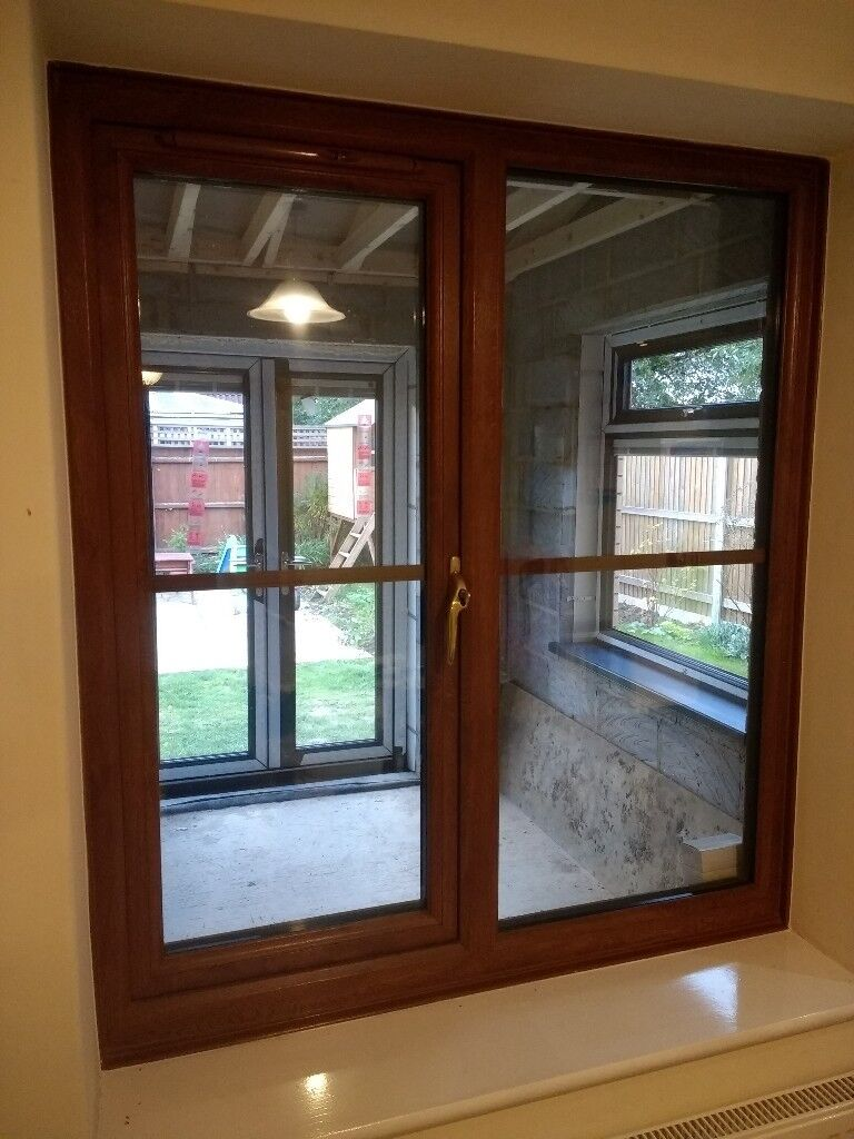 UPVC Double Glazed Oak Window