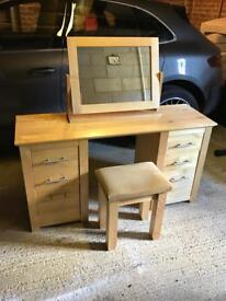 Oak Dressing Table, Mirror and Stool