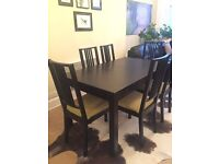 Extendable Black Dining Table and 6 Chairs