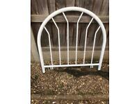 Standard white metal 3ft single bed headboard
