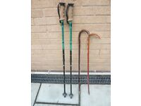 TWO VINTAGE WALKING CANES & PAIR OF NORDIC WALKING P0LES