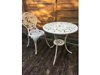 stunning hand painted cast alloy table & chair ideal for bistro / tea room / bridal shop / florist