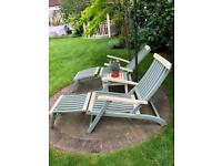 Wooden Steamer Chairs, table, cushions & Umbrella
