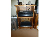 """Pine HiFi cabinet with shelf, glass door, ball feet. Used -excellent condition. H 32"""" W 21"""" D 17"""""""
