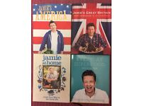 4 Jamie Oliver Recipe Books including Everyday Super Food, America, Great Britain and At Home