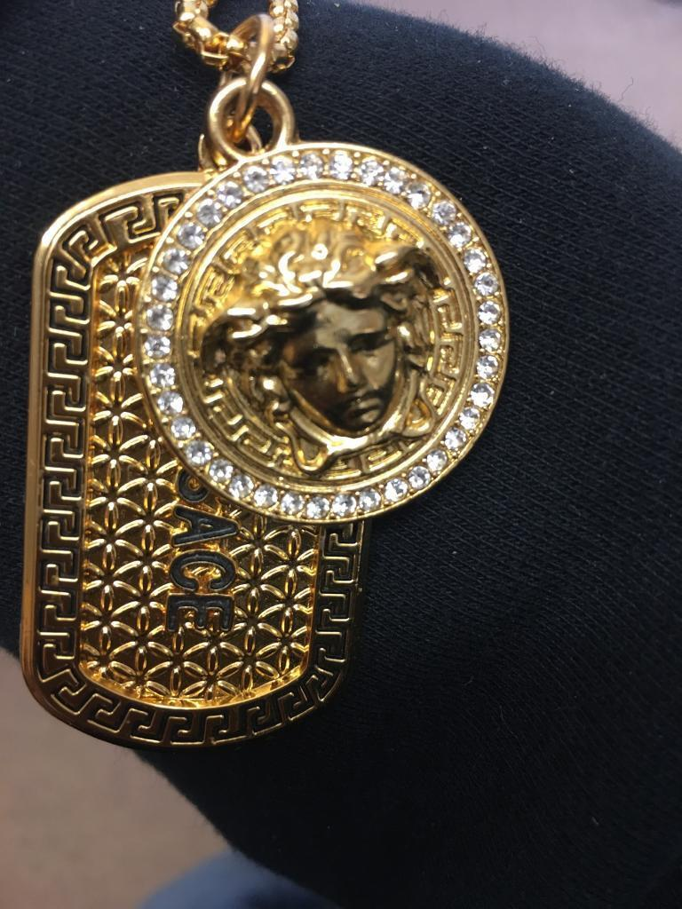 Versace 18kt gold plated dog tag with medusa head and chain   in ... 0003e6626d7