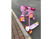 Peppa pig child's bike and scooter bundle