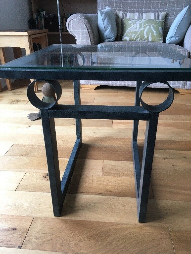 Coffee table, glass top metal frame