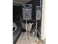 Electrovoice speakers & Amp & storage box's