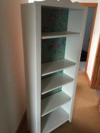 White book case with wallpapered back board.