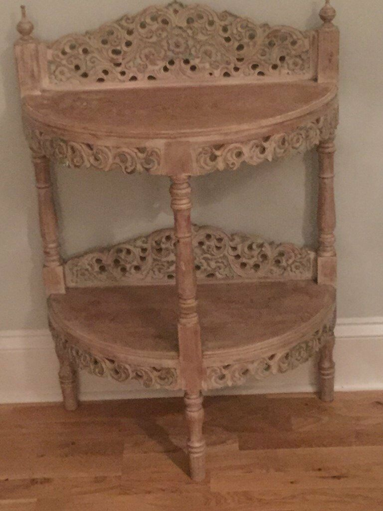 Hand carved limed oak Thai half moon table/display cabinet