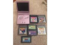 Nintendo pink Gameboy sp and games