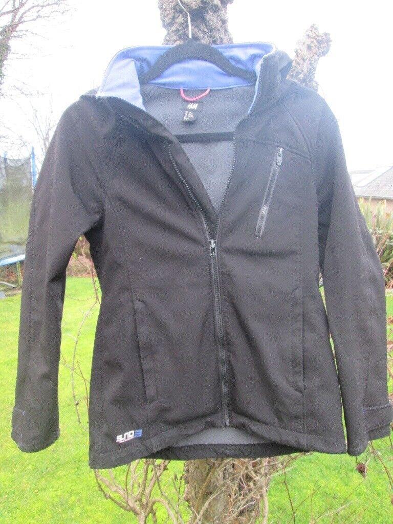 7dbcdc5d5b7 Girls jacket age 12-13yr from H&M, black with blue trim. | in Colinton,  Edinburgh | Gumtree