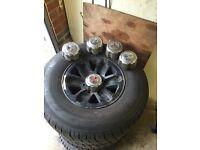 mitsubishi shogun pajero mk2 wheels with 4x good and on/off road tyres 265/70/15