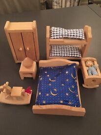Early learning wooden dolls house furniture