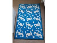 Childrens bedroom rug blue cars and stars