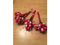 Flowers/bouquets wooden x3