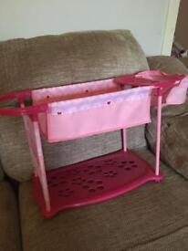 Dolls pink bed and high chair station