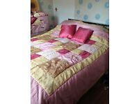 Patchwork blanket pink/gold pillow covers/valance and cushions £25 ono