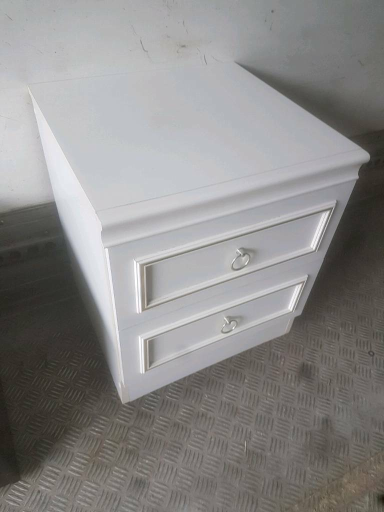 Bedside Drawer - Quality Two (2) Drawer White Bedside Drawer