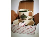 Set of 4 Christmas-themed SPODE mugs