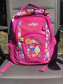 Smiggle backpack, Pink, goodies and confetti
